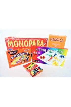 ibis oyuncak Tombala + Kızma Birader + Mangala+ Monopara + Uno Kutulu Oyun Takımı 5'li Set