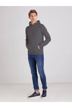 Dufy Erkek Füme Içi Polarlı Kapüşonlu Slım Fıt Sweatshirt