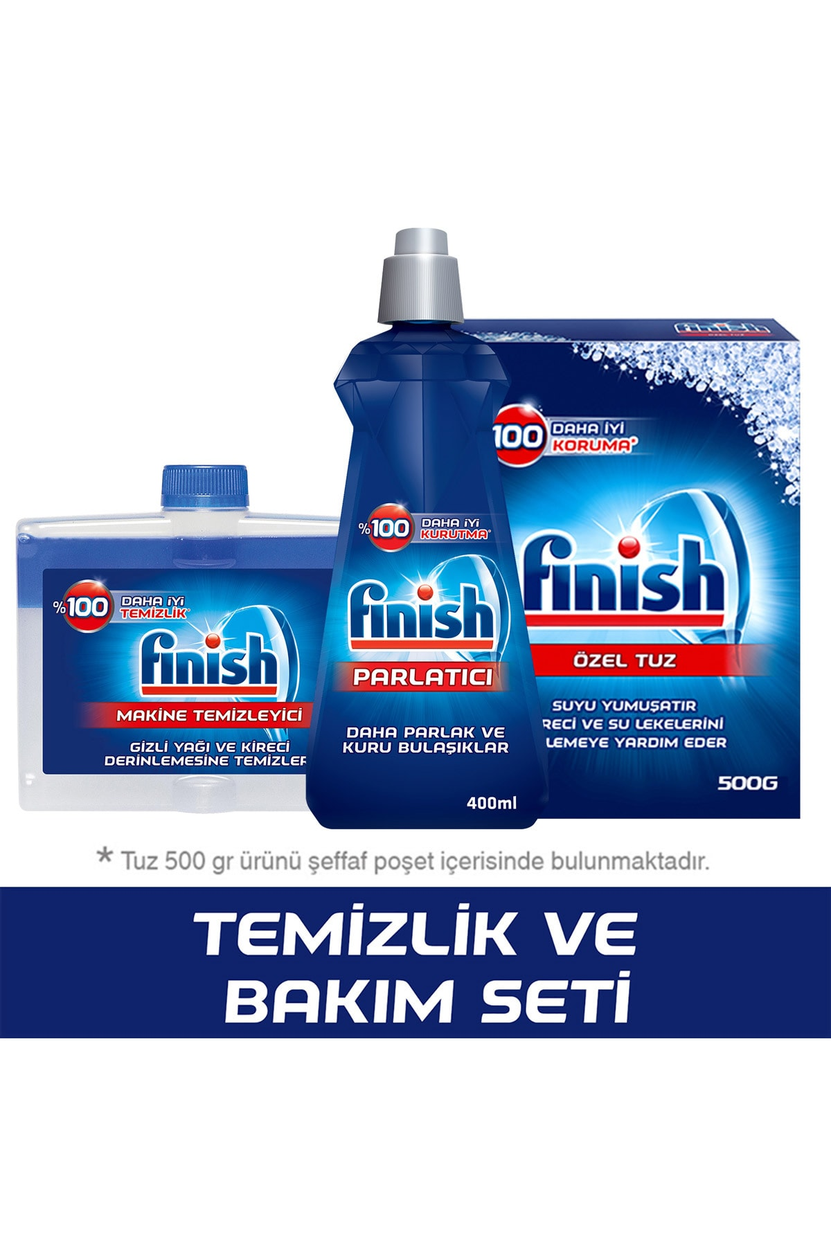 Finish Temizlik ve Bakım Seti (Parlatıcı 400 ml + Makine Temizleyici Sıvı 250 ml + Tuz 500 gr) 1