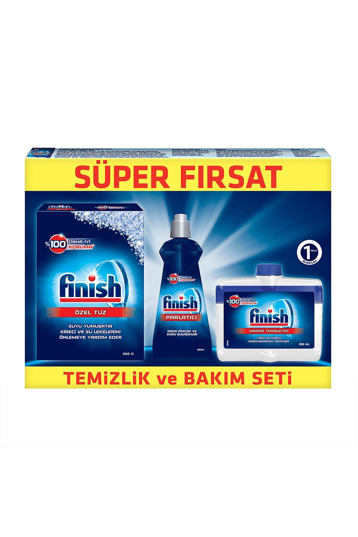 Finish Temizlik ve Bakım Seti (Parlatıcı 400 ml + Makine Temizleyici Sıvı 250 ml + Tuz 500 gr) 2