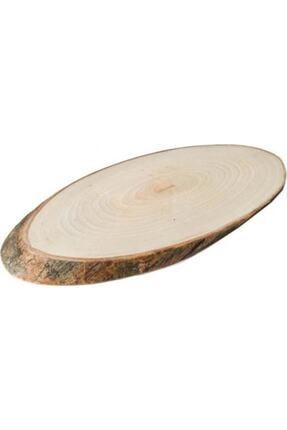 Trio 2 Adet Doğal Ahşap Sunum Dekoratif Kütük Doğal Ağaç Oval Tepsi Servis Sunum Kütüğü Tepsisi