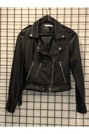 Asel Butik Kadın Siyah Deri Ceket