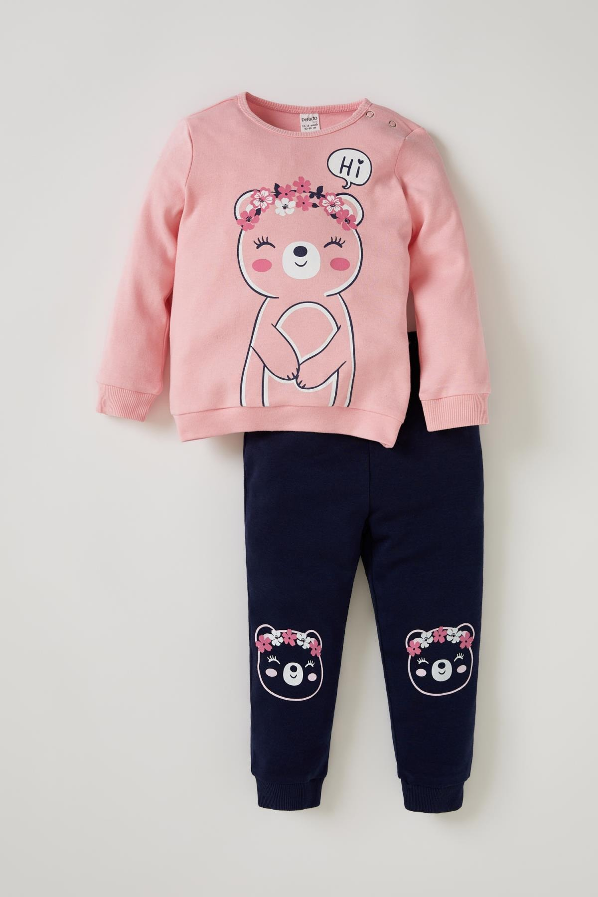 DeFacto Kız Bebek Pembe Sevimli Ayıcık Baskılı Eşofman Takımı 1
