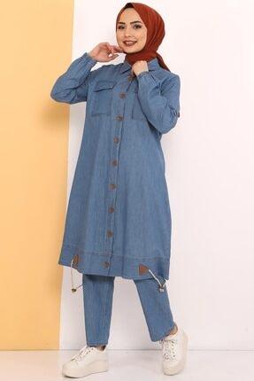 Tesettür Dünyası Kadın Açık Mavi Eteği Büzgü Detaylı Ikili Kot Takım Tsd0450