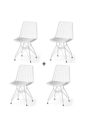 CAN CONCEPT Kafes Tel Sandalye Beyaz 4lü Adet, Beyaz Sandalye
