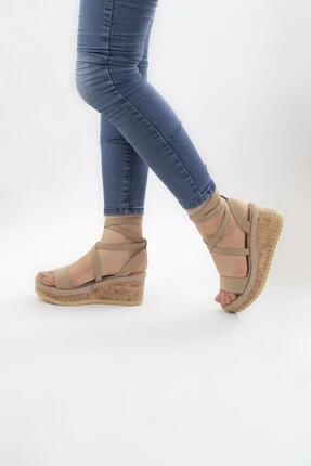 Limoya Kadın Ten Keten Dolgu Topuklu Mantar Tabanlı Bilekten Sargılı Ayakkabı