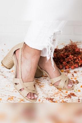 Limoya Kadın Bej Hasır ve Jud Detaylı El Sargısı Oval Topuklu Ayakkabı