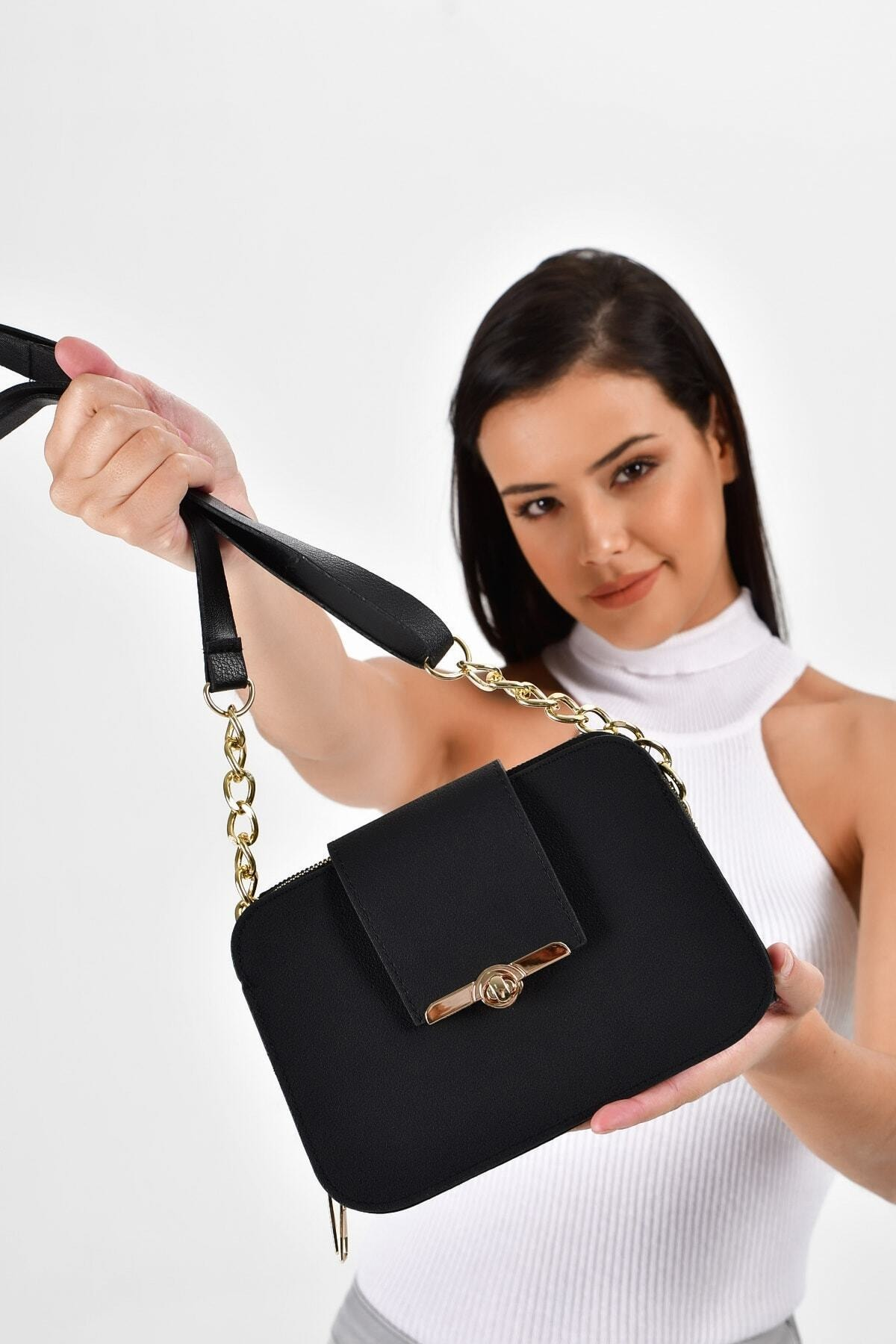 Bagzone Kadın  Siyah Yarı Zincir Askılı Kilit Detaylı Omuz Çantası 1