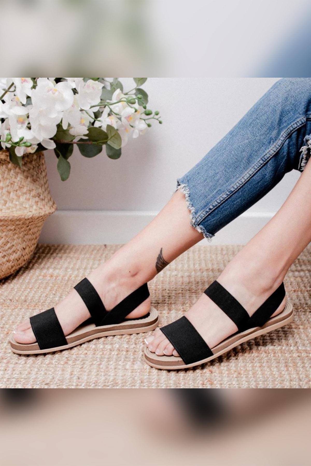 Limoya Kadın Siyah Lastikli Eva Tabanlı Comfort Hafif Sandalet 2