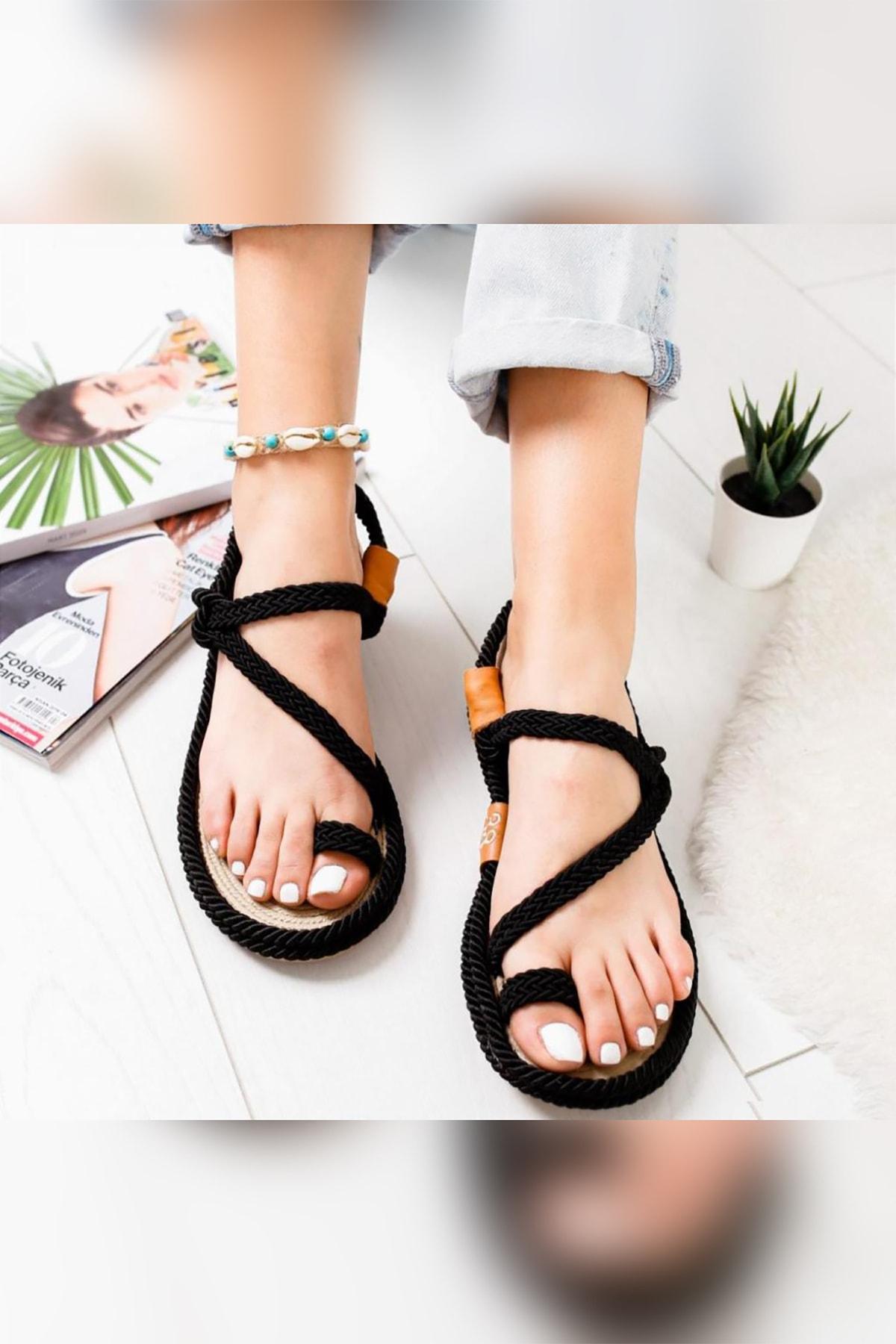 Limoya Kadın Siyah Alexandrea Comfort Halat Sargılı Sandalet 2
