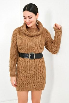Sateen Kadın Vizon Balıkçı Yaka Örme Triko Elbise  STN503KTR133