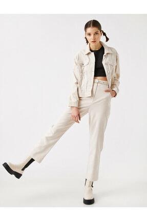 Koton Kadın Ekru Pamuklu Kemerli Fitilli Kadife Pantolon