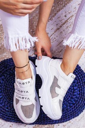 Limoya Kadın Beyaz Katie Cırt Cırtlı Fileli Yüksek Tabanlı Sneaker