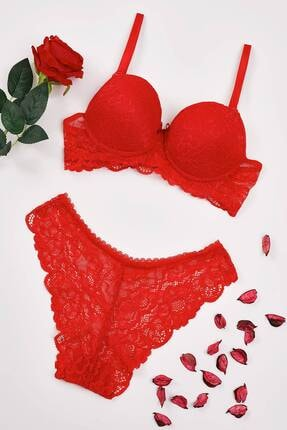 Mite Love Kadın Kırmızı Dantelli Sütyen Külot Iç Çamaşır Takımı