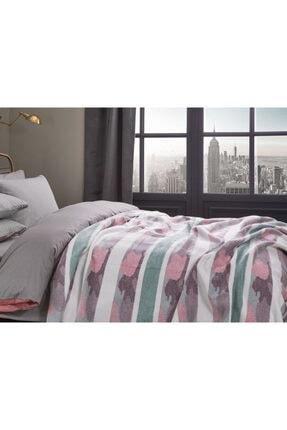 English Home Stripe Pamuklu Çift Kişilik Battaniye 200x220 Cm Seledon
