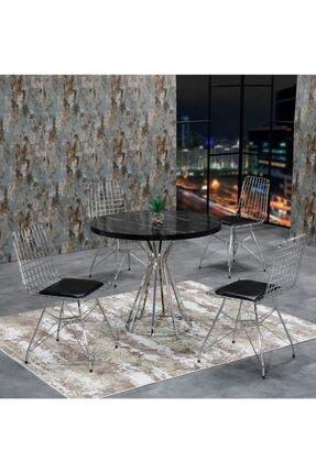 AVVİO Ece 4 Kişilik Siyah Mermer Görünümlü Metal Mutfak Masası Takımı-gümüş Tel Sandalyeli 90x90 Cm