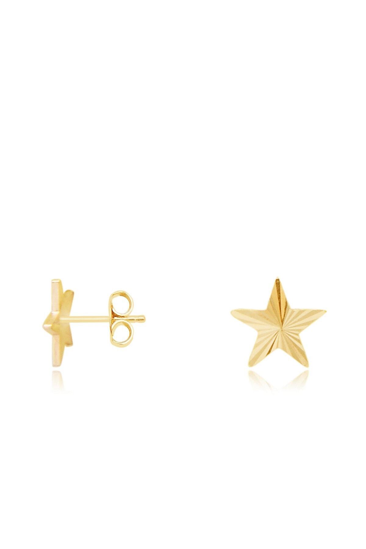 Diamond Line-Gülaylar Kadın Sarı Altın 14 Ayar Yıldız Küpe 1