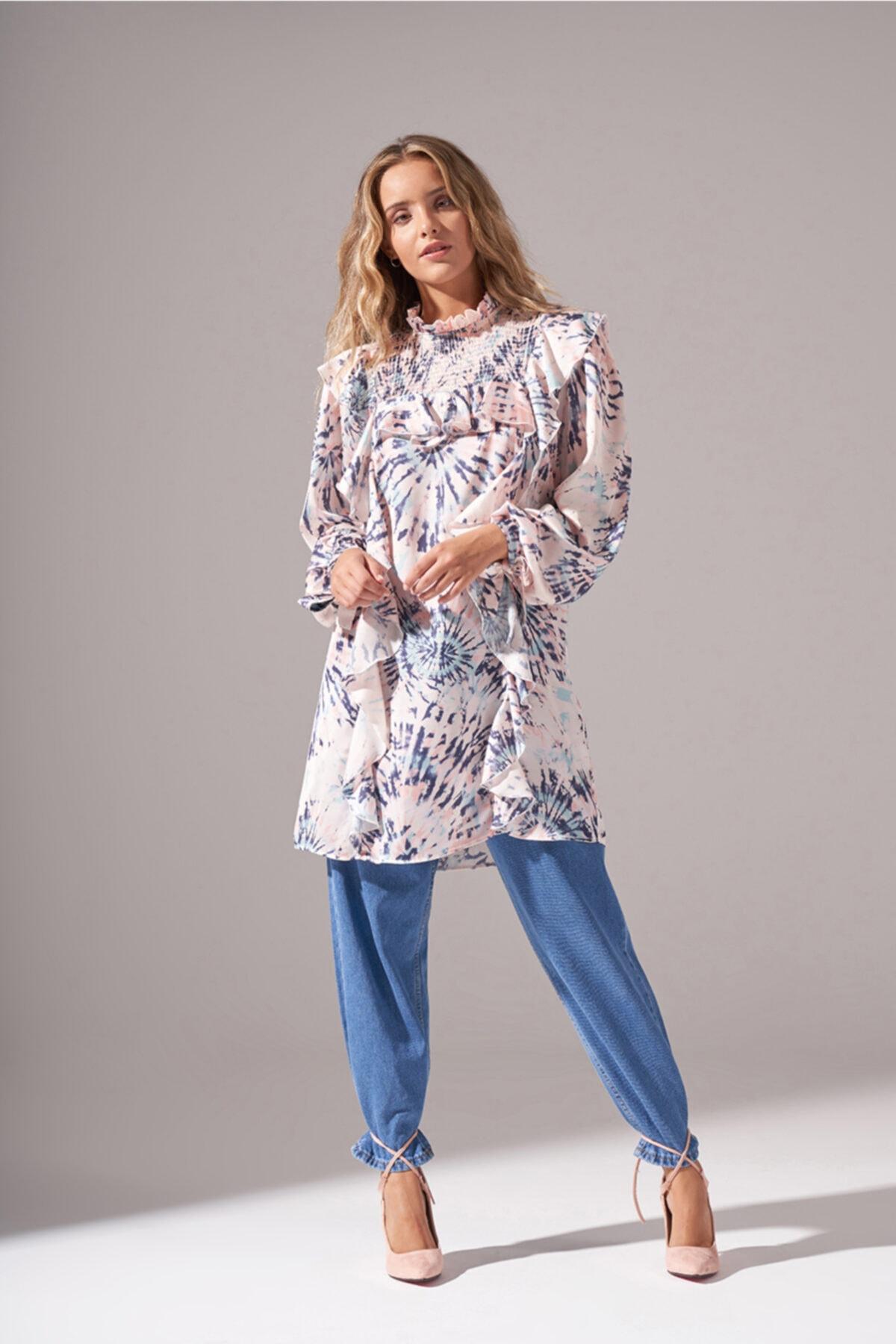 Mizalle Batik Desenli Bluz (Somon) 1
