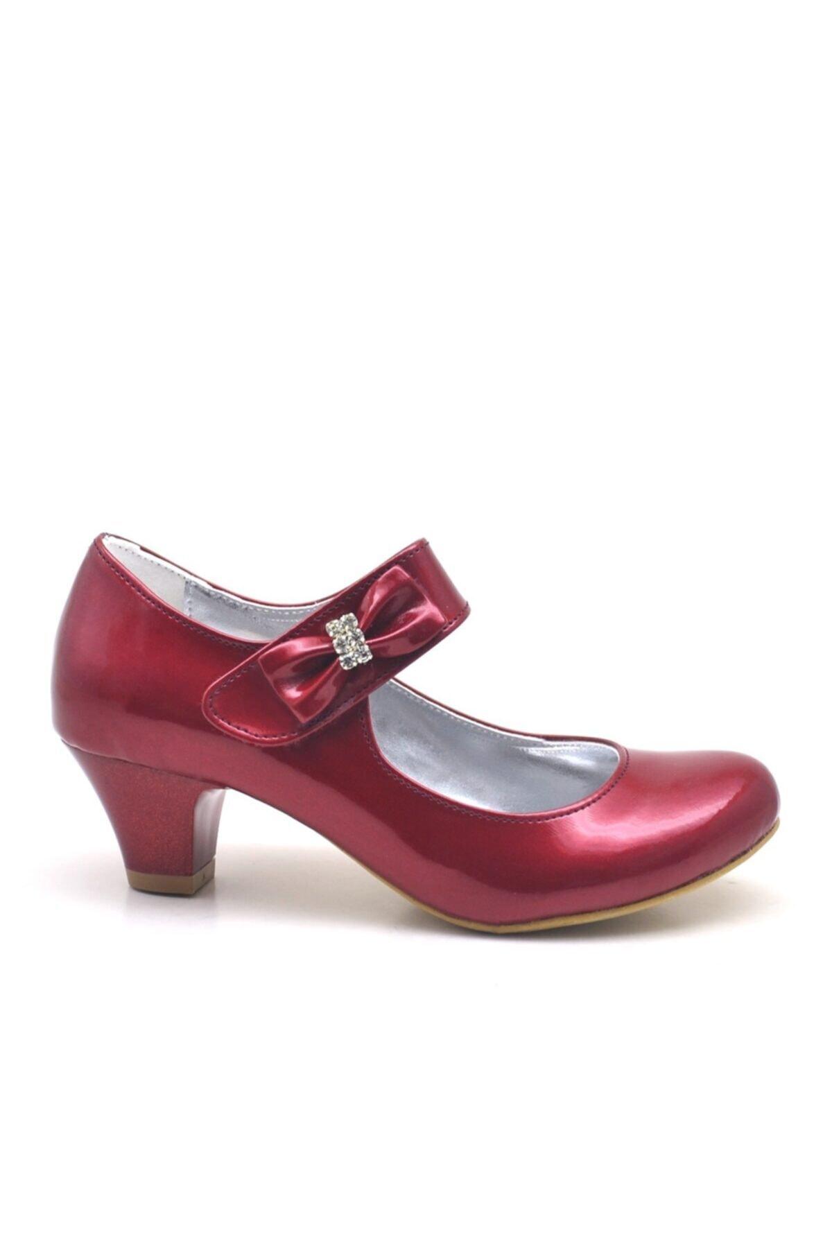Sarıkaya Bordo Rugan Taşlı Kırmızı Topuklu Kız Çocuk Abiye Ayakkabı 2