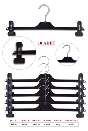 TENA MODA Unisex Siyah Çocuk Kıyafet Pantolon Etek Askısı 10 Adet