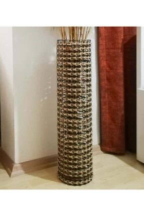 Dekopano Metal Tel Hasır Örgülü Tasarım Vazo 70cm