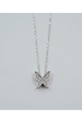 Swaroski Swarovski Taşlı Kelebek Desen 925 Ayar Gümüş Kadın Kolye