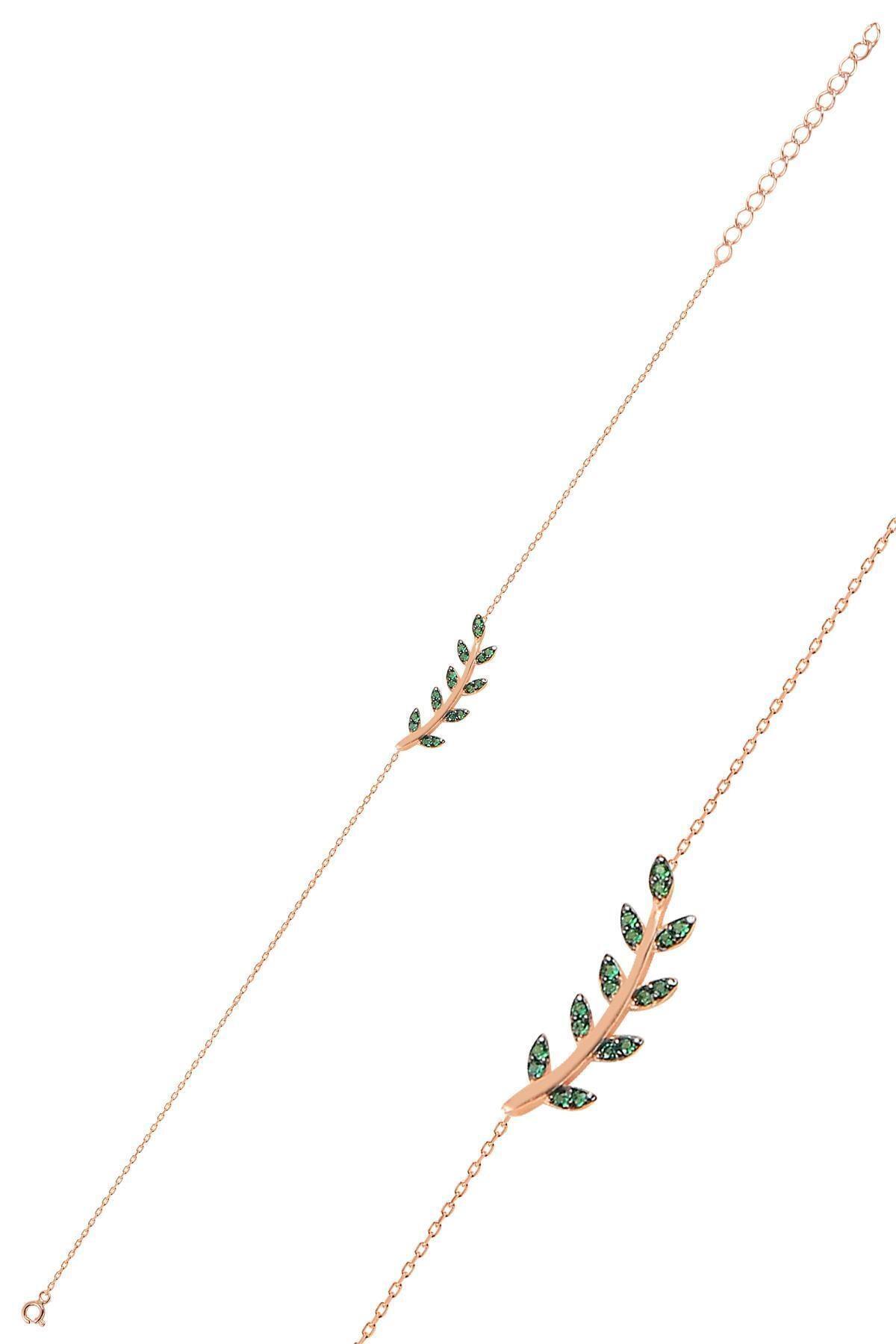 Söğütlü Silver Gümüş Rose Yeşil Taşlı Yaprak Bileklik 1