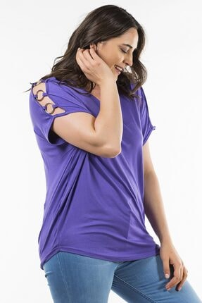 Womenice Mor Omuzu Halkalı Bluz
