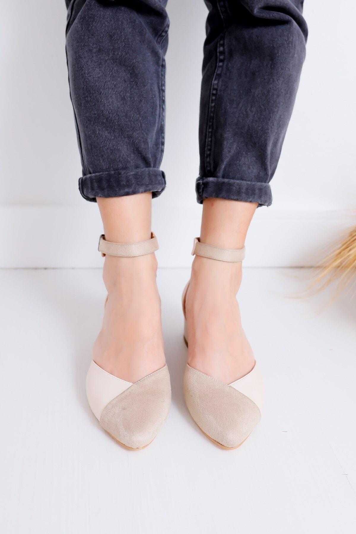 Hayalimdeki Ayakkabı Holly Topuklu Ten Cilt-süet Ayakkabı 1