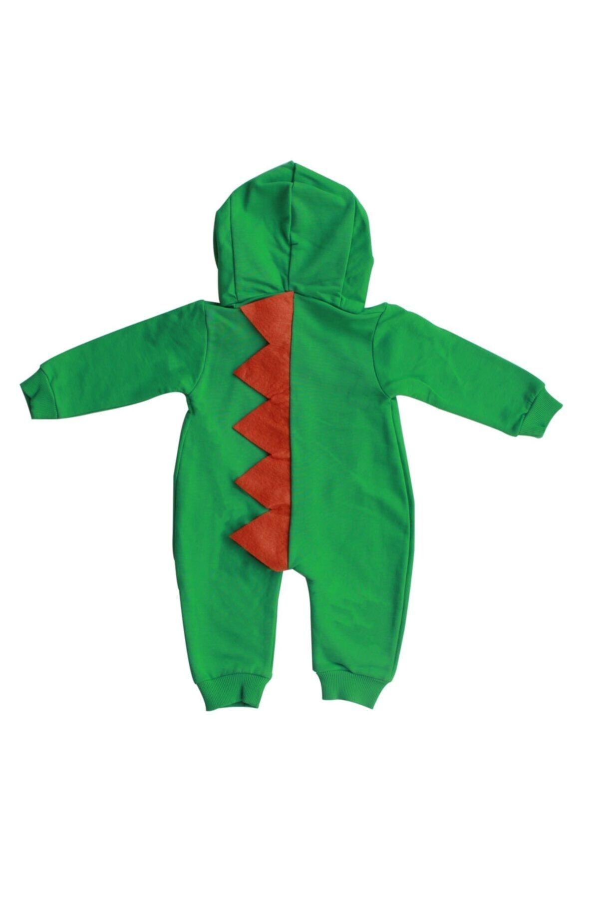 bebegen Dinozor Şapkalı Yeşil Sarı Tulum 2