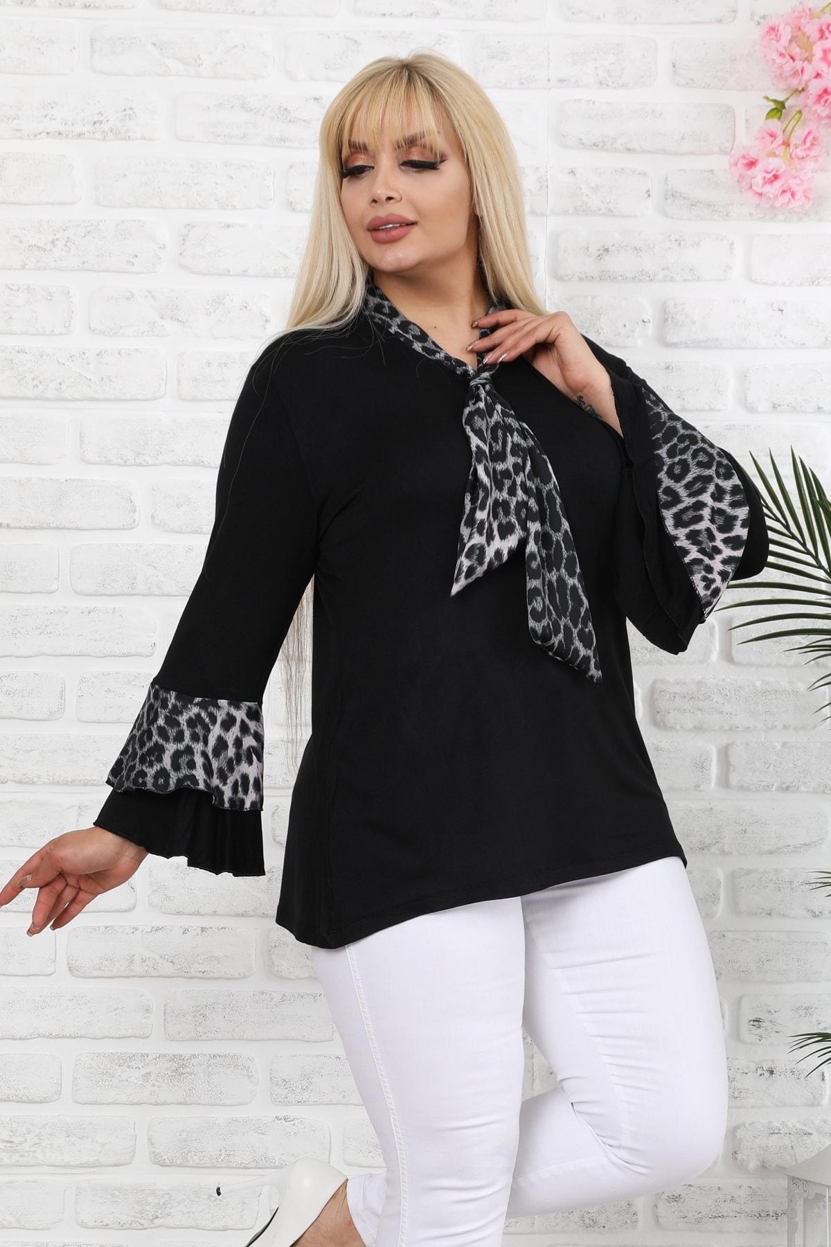 1fazlası Siyah Leopar Desenli Saten Şallı Ispanyol Kol Bluz 2