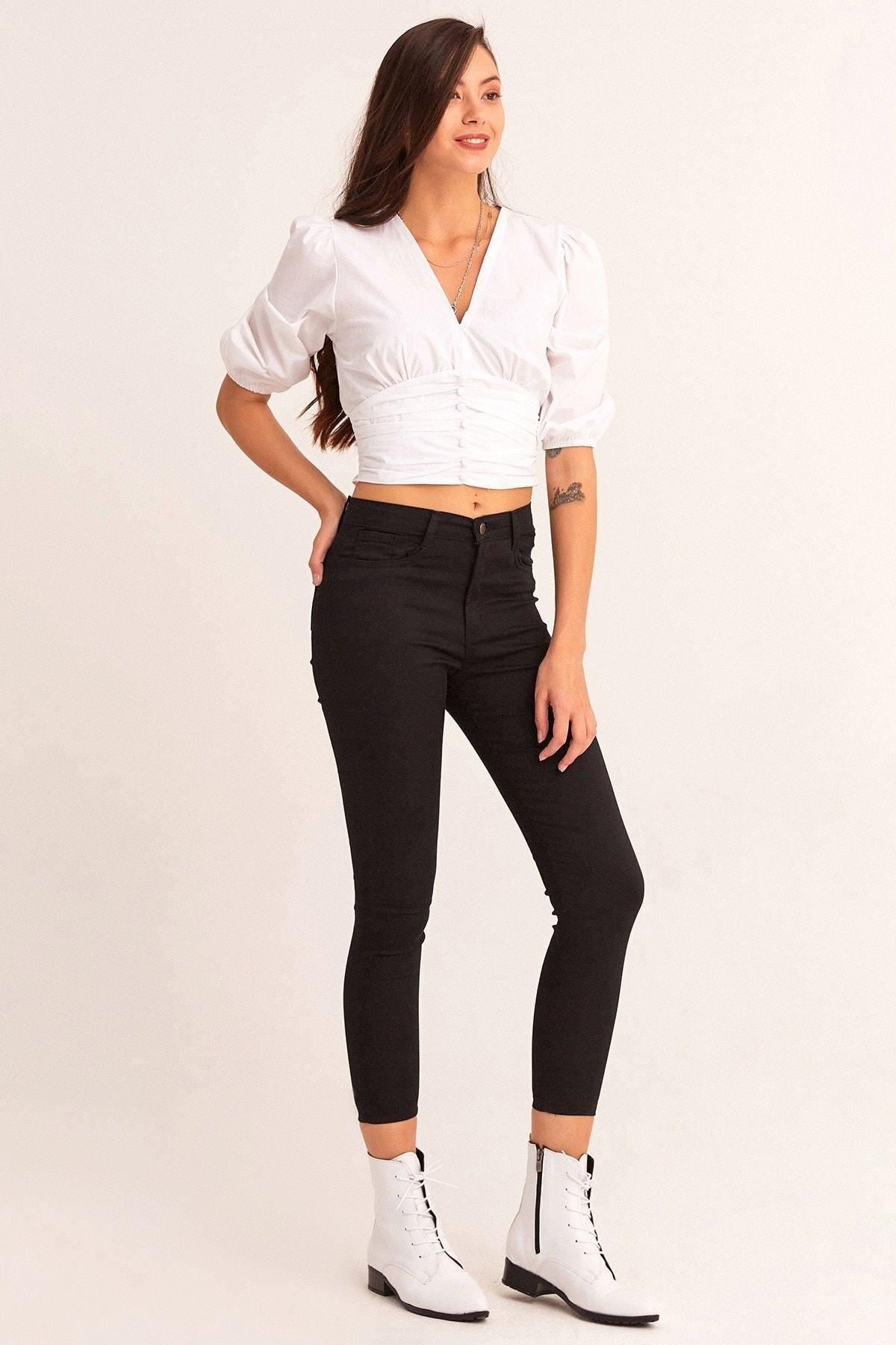Fulla Moda Yüksek Bel Dar Paça Pantolon 1