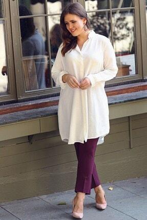 Womenice Büyük Beden Ekru Kapalı Pat Gömlek Tunik