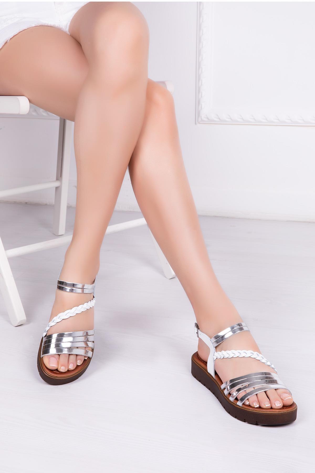 Deripabuc Hakiki Deri Beyaz Gümüş Kadın Deri Sandalet RMA-3130 1