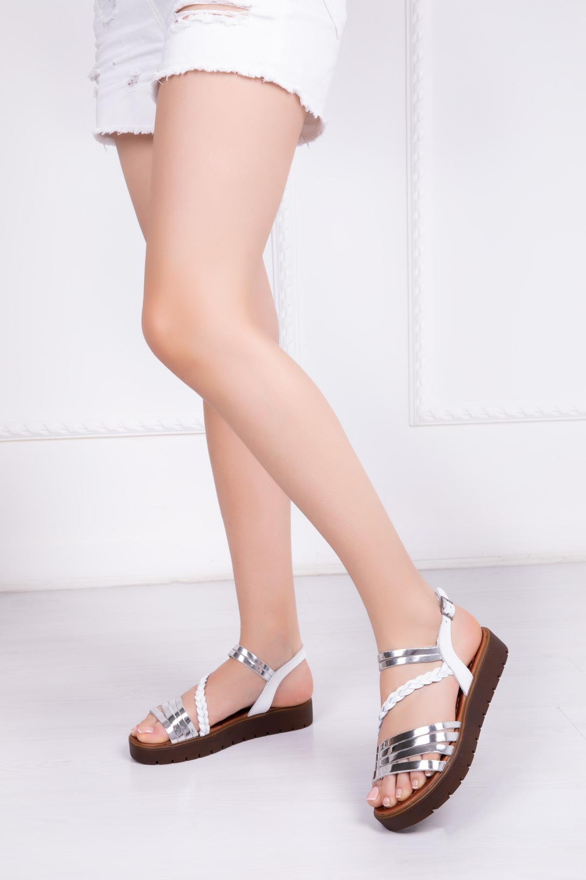 Deripabuc Hakiki Deri Beyaz Gümüş Kadın Deri Sandalet RMA-3130 2