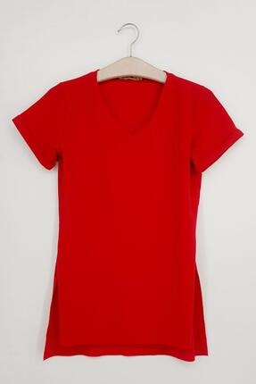 TENA MODA Kadın Kırmızı V Yaka Yanı Yırtmaçlı Kaşkorse Tunik
