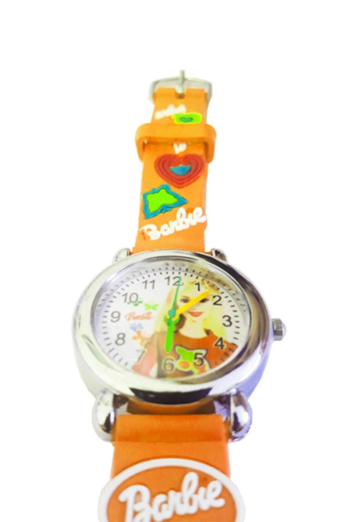 Barbie Figürlü 3d Kabartmalı Silikon Kayışlı Çocuk Kol Saati - Turuncu 2