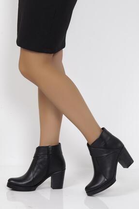 Deripabuc Hakiki Deri Siyah Kadın Topuklu Deri Bot Trc-3771