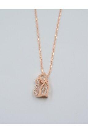 Swaroski Swarovski Taşlı Kedi Desen 925 Ayar Gümüş Kadın Kolye