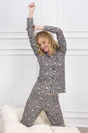 Hello Kitty Lisanslı Siyah Kadın Düğmeli Gömlek Pijama Takımı