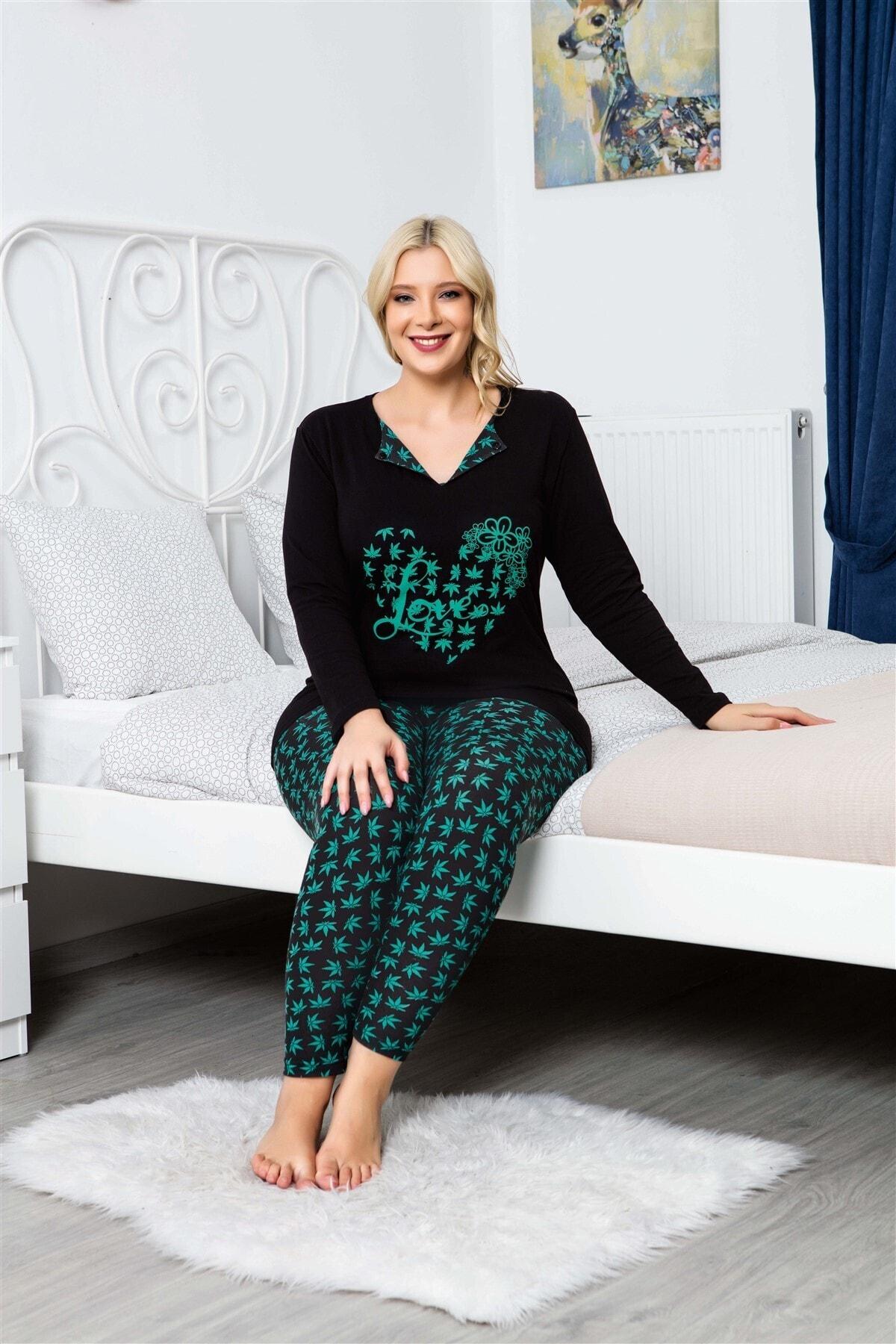 MyBen Büyük Beden Pijama Takımı V-yaka Çiçek Desenli Uzun Kollu Battal Beden Taytlı Pijama Takımı 16114 2