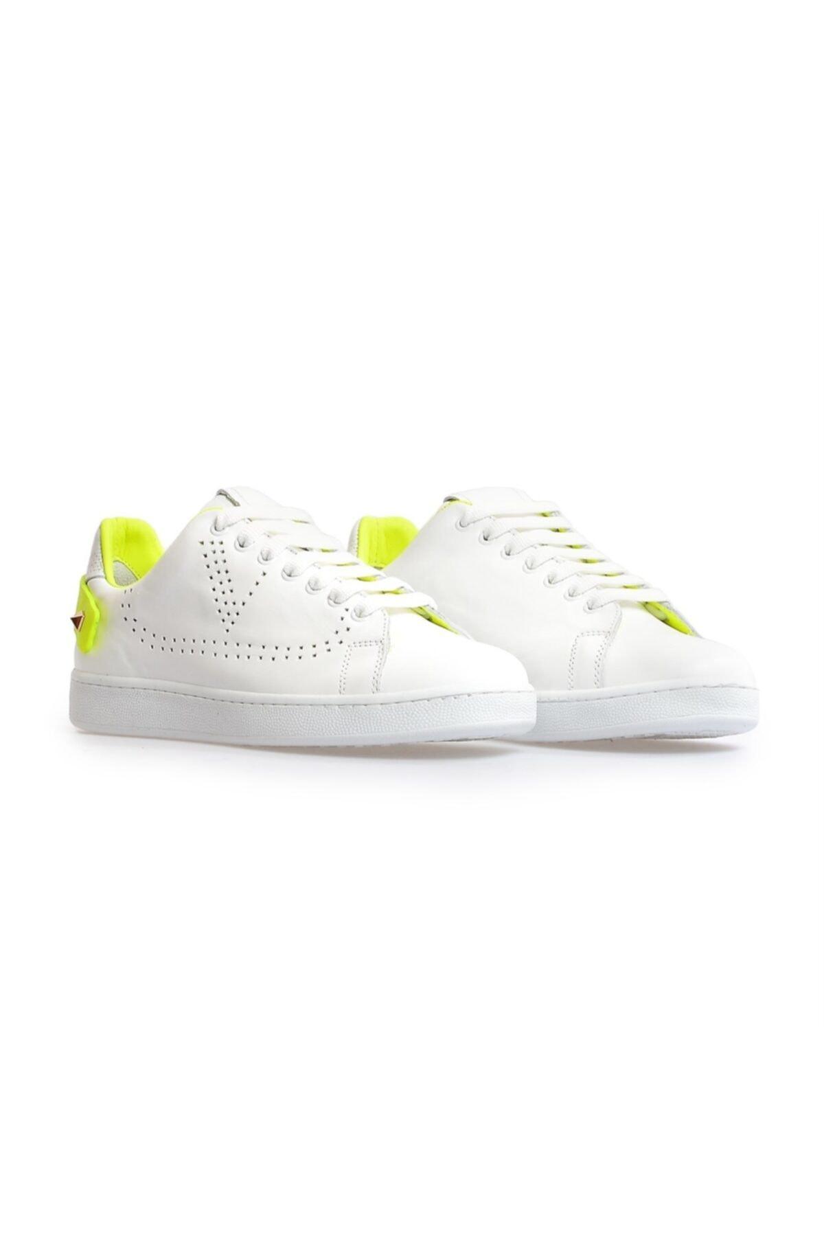 Flower Beyaz Sarı Trok Detaylı Bağcıklı Sneakers 2