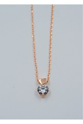 Swaroski Swarovski Taşlı Kalp Desen 925 Ayar Gümüş Kadın Kolye