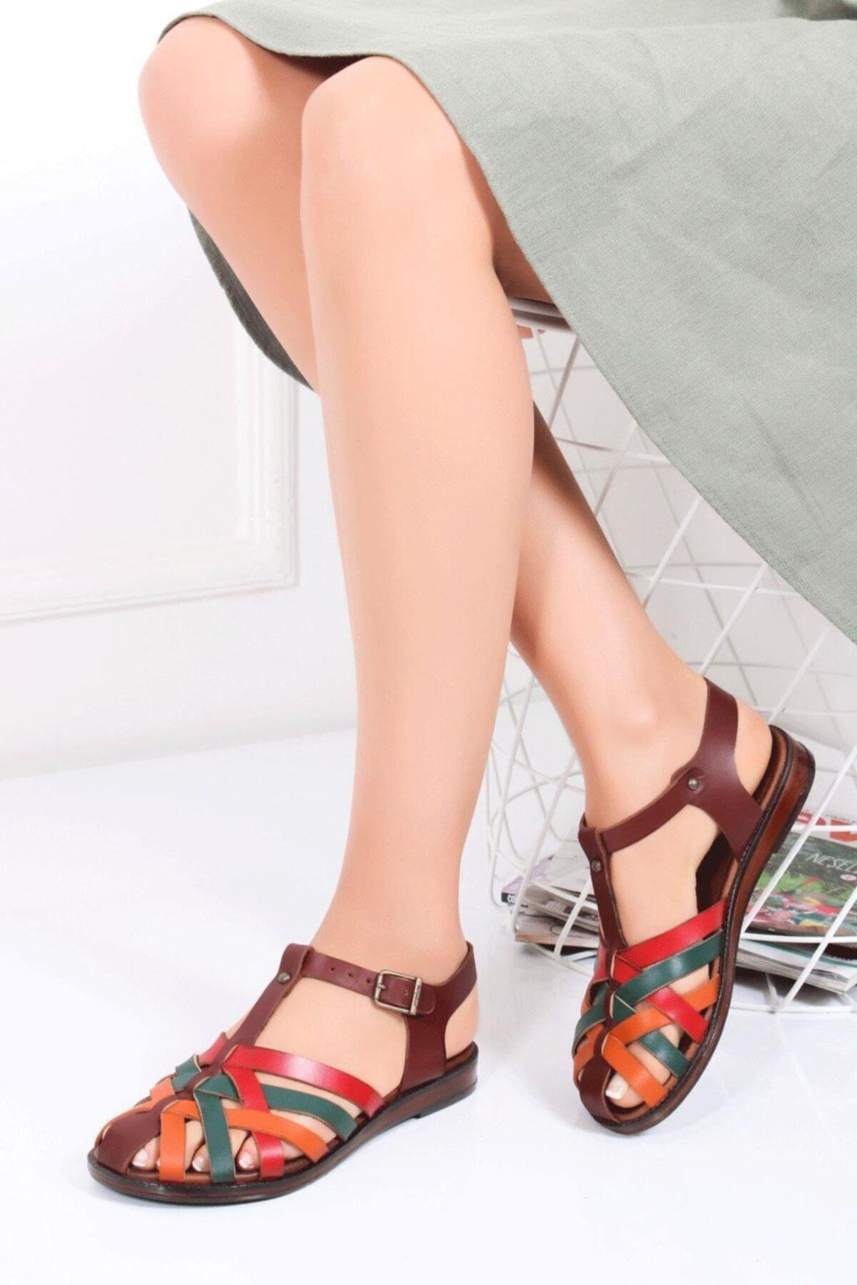 Deripabuc Hakiki Deri Kahve Multi Kadın Deri Sandalet DP-0067 1