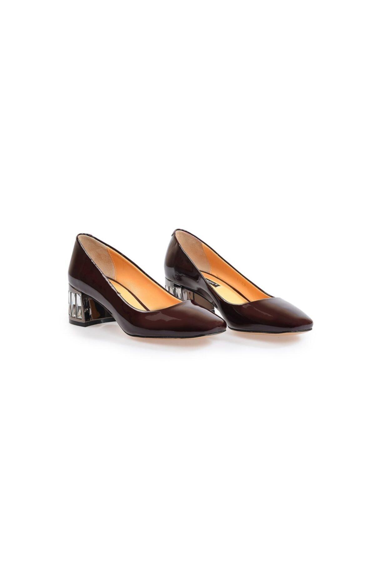 Flower Bordo Taş Detaylı Kalın Topuklu Ayakkabı 2