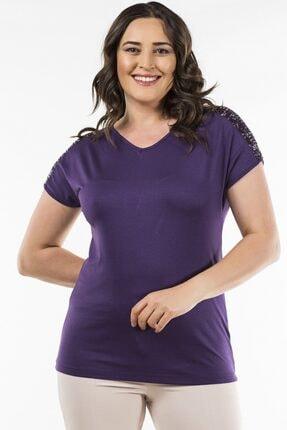 Womenice Mor Omuz Pul Detaylı Bluz