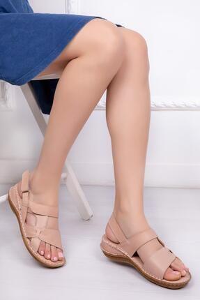Deripabuc Hakiki Deri Bej Kadın Deri Sandalet Dp16-0209