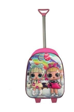 BEBEBEBEK Anaokulu Çocuk Valiz Sırt Çantası Çekçekli 2in1 Lol Bebek 5d Boyutlu