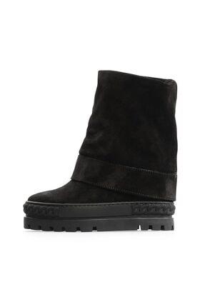 Flower Siyah Süet Sneakers Tabanlı Çizme