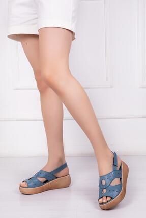 Deripabuc Hakiki Deri Mavi Kadın Deri Sandalet Dp-20668